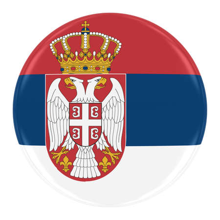 serbian: Serbian Flag Badge - Flag of Serbia Button Isolated on White