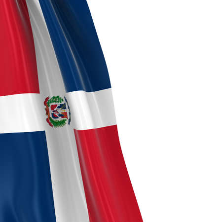 draped: Hanging Flag of the Dominican Republic - 3D Render of the Dominican Flag Draped over white background