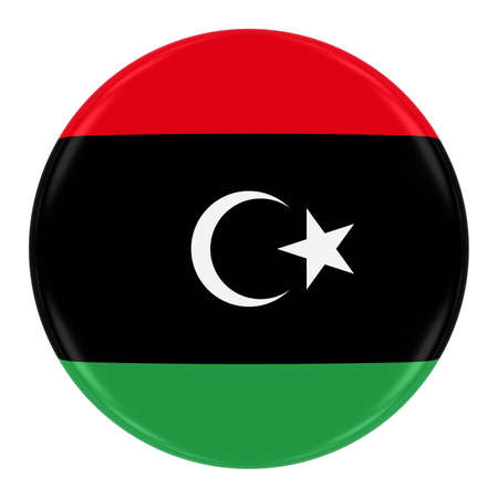 libyan: Libyan Flag Badge - Flag of Libya Button Isolated on White