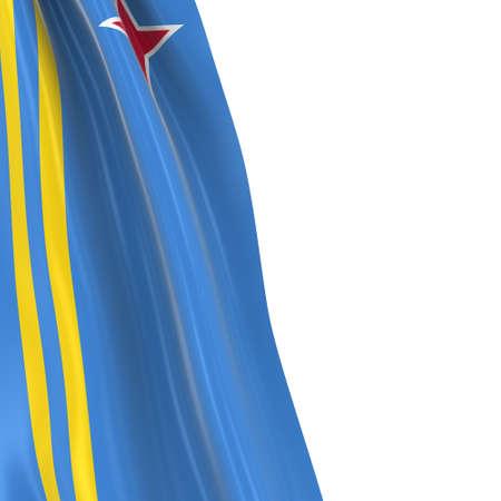draped: Hanging Flag of Aruba - 3D Render of the Aruban Flag Draped over white background Stock Photo