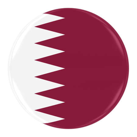 Qatari Flag Badge - Flag of Qatar Button Isolated on White