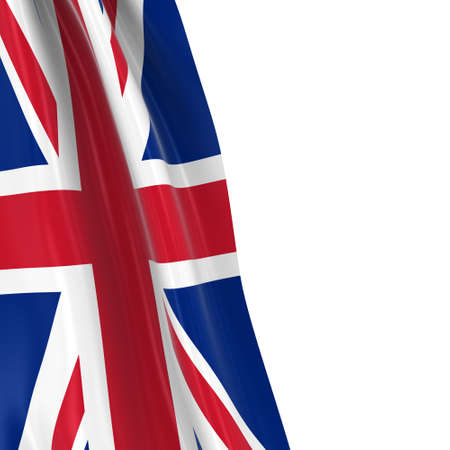 draped: Hanging Flag of the United Kingdom - 3D Render of the Union Jack Flag Draped over white background with copyspace for text