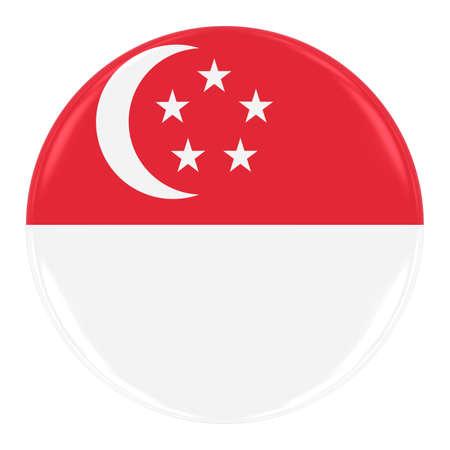 singaporean flag: Singaporean Flag Badge - Flag of Singapore Button Isolated on White