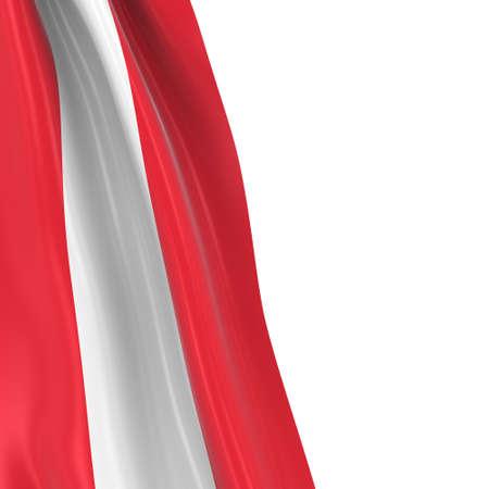austrian flag: Hanging Flag of Austria - 3D Render of the Austrian Flag Draped over white background