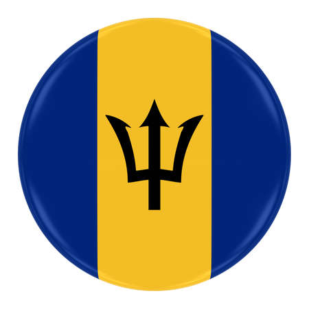 barbadian: Barbadian Flag Badge - Flag of Barbados Button Isolated on White