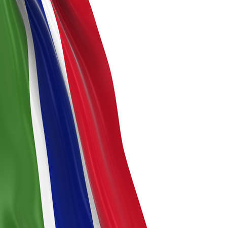 hanging dangling: Hanging Flag of Gambia - 3D Render of the Gambian Flag Draped over white background