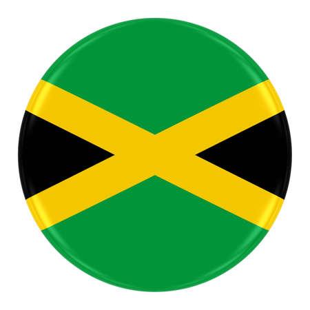 jamaican flag: Jamaican Flag Badge - Flag of Jamaica Button Isolated on White