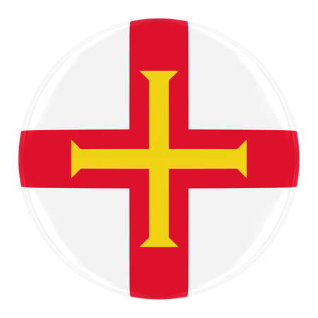 guernsey: Guernsey Flag Badge - Flag of Guernsey Button Isolated on White