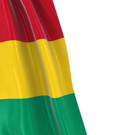 hanging dangling: Hanging Flag of Guinea - 3D Render of the Guinean Flag Draped over white background