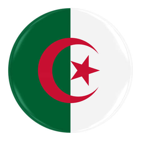 algerian flag: Algerian Flag Badge - Flag of Algeria Button Isolated on White
