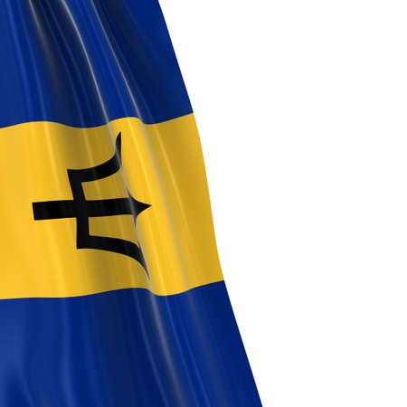 hanging dangling: Hanging Flag of Barbados - 3D Render of the Barbadian Flag Draped over white background