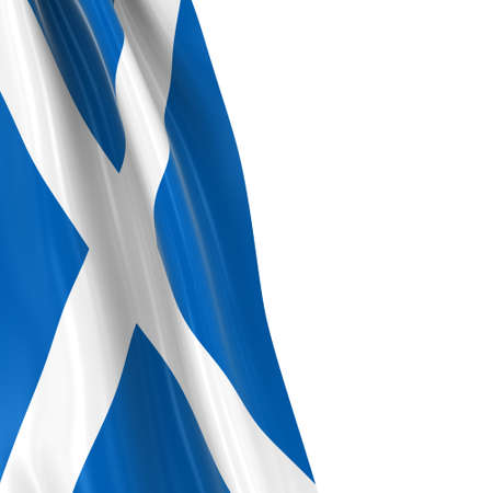 draped: Hanging Flag of Scotland - 3D Render of the Scottish Flag Draped over white background with copyspace for text