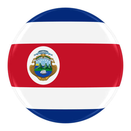 costa rican flag: Costa Rican Flag Badge - Flag of Costa Rica Button Isolated on White Stock Photo