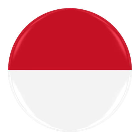 monegasque: Monegasque  Indonesian Flag Badge - Flag of Monaco  Indonesia Button Isolated on White