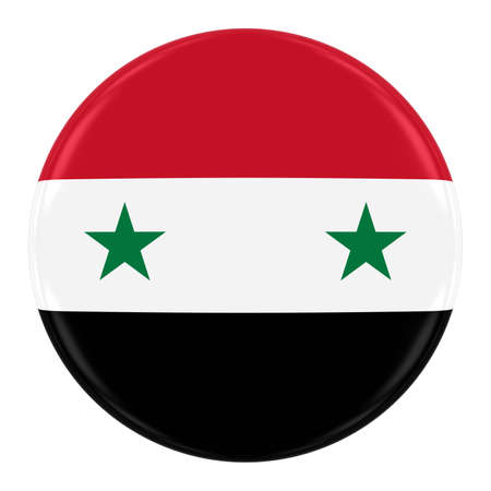 syrian: Syrian Government Flag Badge - Flag of the Syria Button Isolated on White