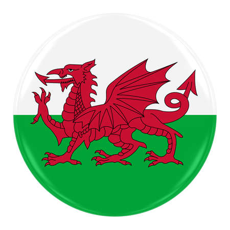 welsh flag: Welsh Flag Badge - Flag of Wales Button Isolated on White Archivio Fotografico