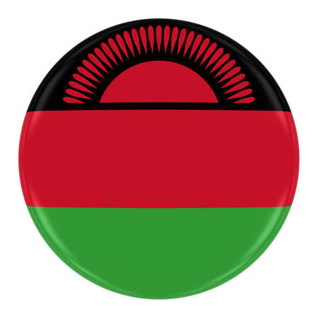 malawian flag: Malawian Flag Badge - Flag of Malawi Button Isolated on White Stock Photo