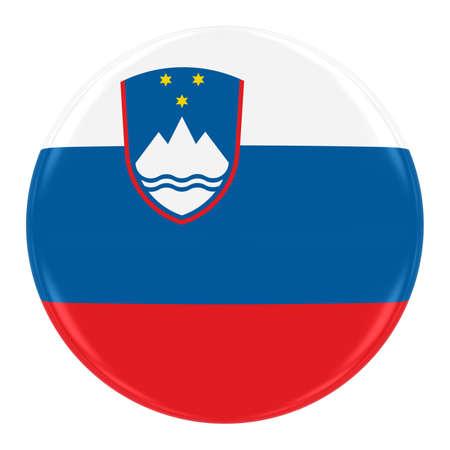 Slowenisch Flagge Abzeichen - Flagge von Slowenien-Taste auf weiß isoliert