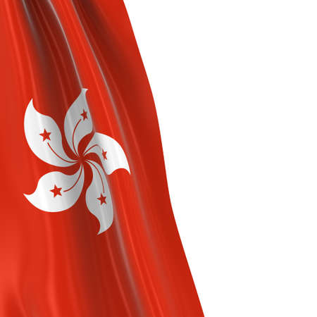 dangling: Hanging Flag of Hong Kong - 3D Render of the Hong Kongese Flag Draped over white background Stock Photo