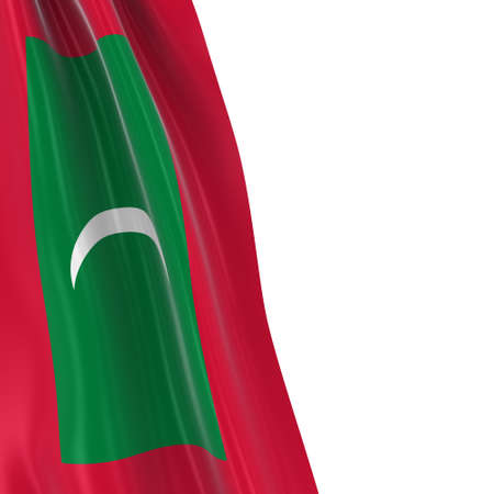 draped: Hanging Flag of Maldives - 3D Render of the Maldivian Flag Draped over white background