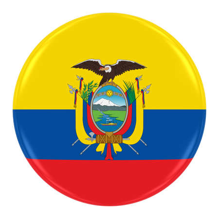 ecuadorian: Ecuadorian Flag Badge - Flag of Ecuador Button Isolated on White Stock Photo