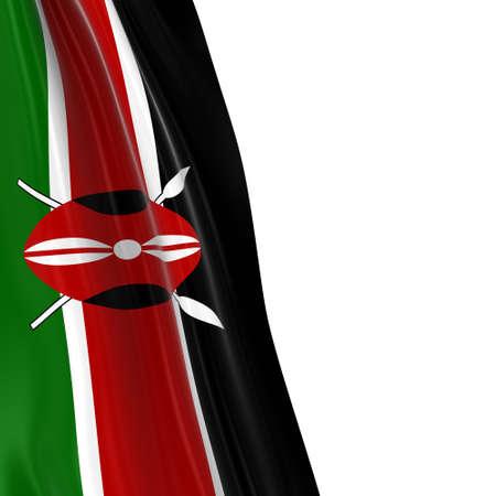 draped: Hanging Flag of Kenya - 3D Render of the Kenyan Flag Draped over white background