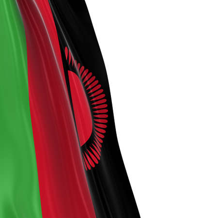 malawian flag: Hanging Flag of Malawi - 3D Render of the Malawian Flag Draped over white background