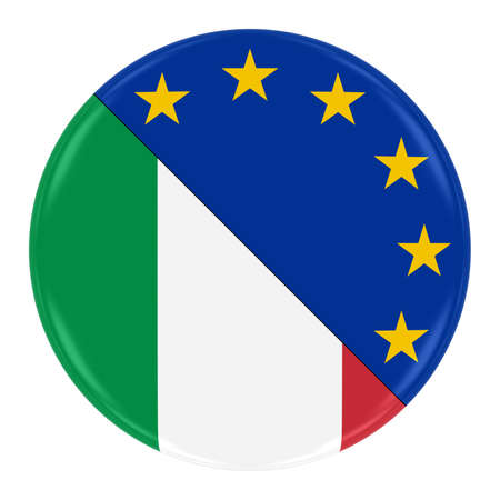 merged: ItalianEuropean Relations Concept Image - Badge with Split Flags of Italy and the European Union