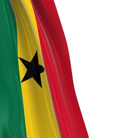 Hanging Flag of Ghana - 3D Render of the Ghanaian Flag Draped over white background
