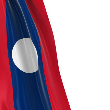 Hanging Flag of Laos - 3D Render of the Laotian Flag Draped over white background Stock Photo