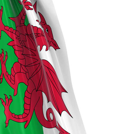 Hanging Flag of Wales - 3D Render of the Welsh Flag Draped over white background with copyspace for text