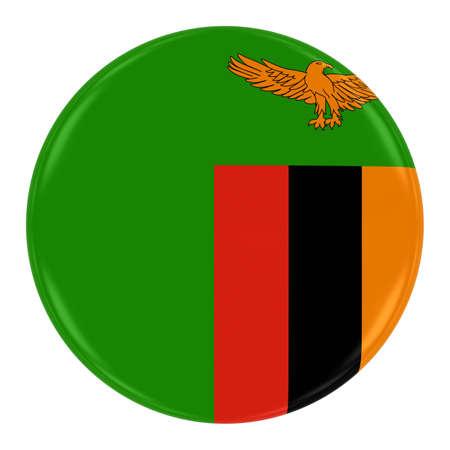 zambian flag: Zambian Flag Badge - Flag of Zambia Button Isolated on White Stock Photo