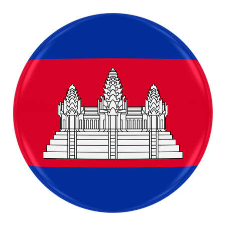 cambodian: Cambodian Flag Badge - Flag of Cambodia Button Isolated on White Stock Photo