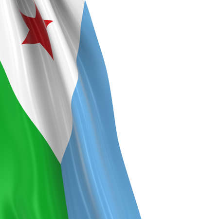 hanging dangling: Hanging Flag of the Djibouti - 3D Render of the Djiboutian Flag Draped over white background