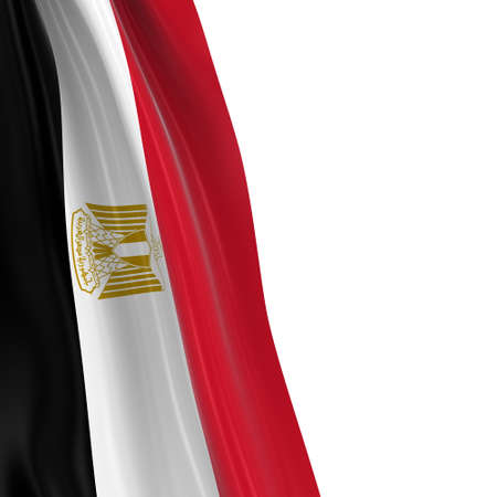 dangling: Hanging Flag of Egypt - 3D Render of the Egyptian Flag Draped over white background