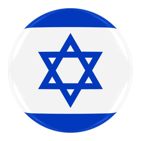 israeli: Israeli Flag Badge - Flag of Israel Button Isolated on White
