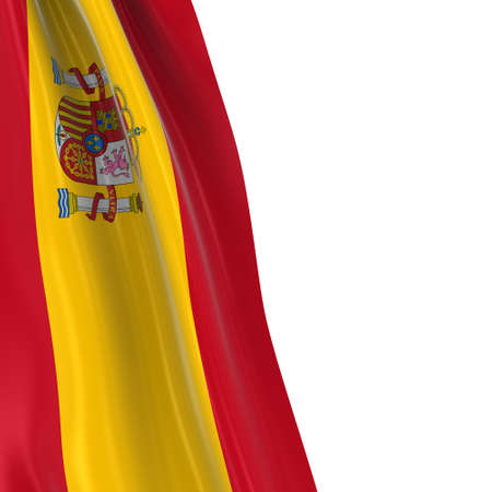 spanish flag: Hanging Flag of Spain - 3D Render of the Spanish Flag Draped over white background with copyspace for text Stock Photo