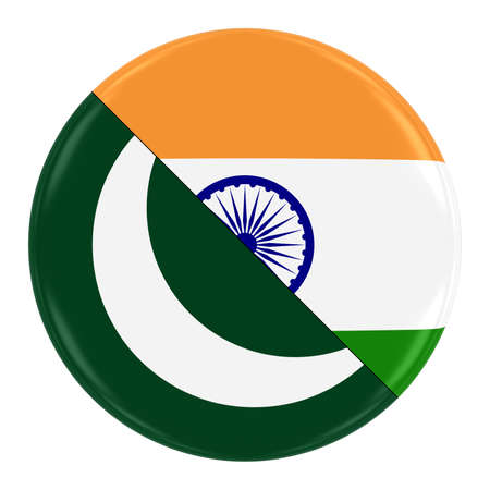 merged: PakistaniIndian Relations Concept Image - Badge with Split Flags of Pakistan and India