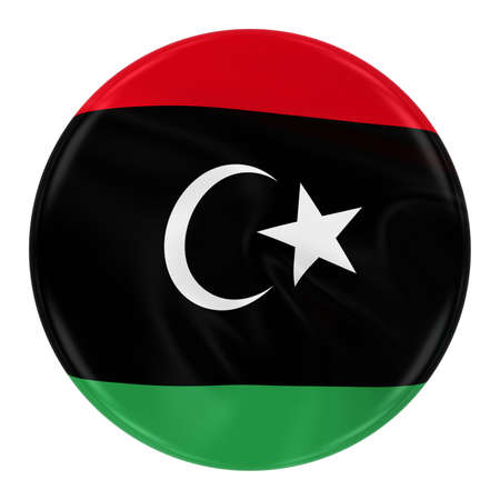 libyan: Waving Libyan Flag Badge - Button textured with the Flag of Libya Isolated on White Stock Photo