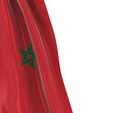 dangling: Hanging Flag of Morocco - 3D Render of the Moroccan Flag Draped over white background