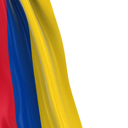 dangling: Hanging Flag of Colombia - 3D Render of the Colombian Flag Draped over white background