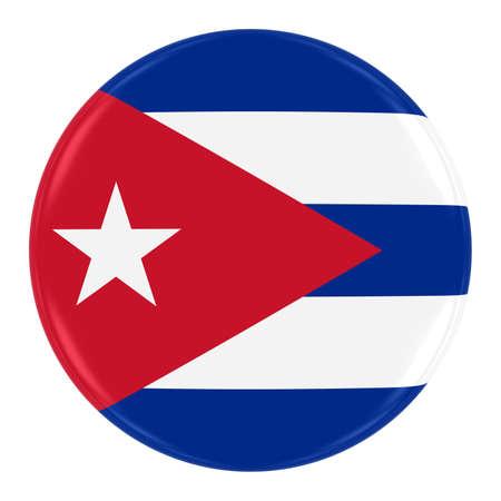 Cuban Flag Badge - Flag of Cuba Button Isolated on White
