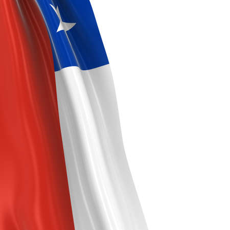 dangling: Hanging Flag of Chile - 3D Render of the Chilean Flag Draped over white background