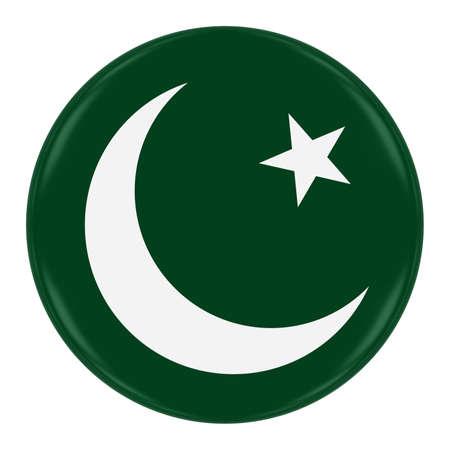 pakistani pakistan: Pakistan Flag Badge - Flag of Pakistani Button Isolated on White