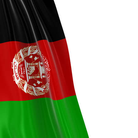 afghan: Hanging Flag of Afghanistan - 3D Render of the Afghan Flag Draped over white background