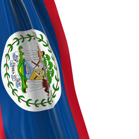 draped: Hanging Flag of Belize - 3D Render of the Belizean Flag Draped over white background