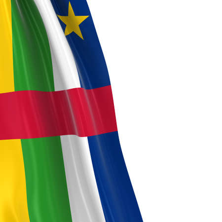 central african republic: Hanging Flag of the Central African Republic - 3D Render of the Central African Flag Draped over white background