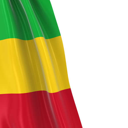 dangling: Hanging Flag of Mali - 3D Render of the Malian Flag Draped over white background