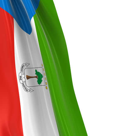 hanging dangling: Hanging Flag of Equatorial Guinea - 3D Render of the Equatorial Guinean Flag Draped over white background