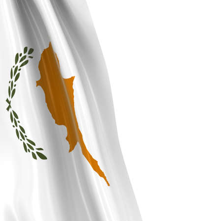 hanging dangling: Hanging Flag of Cyprus - 3D Render of the Cypriot Flag Draped over white background